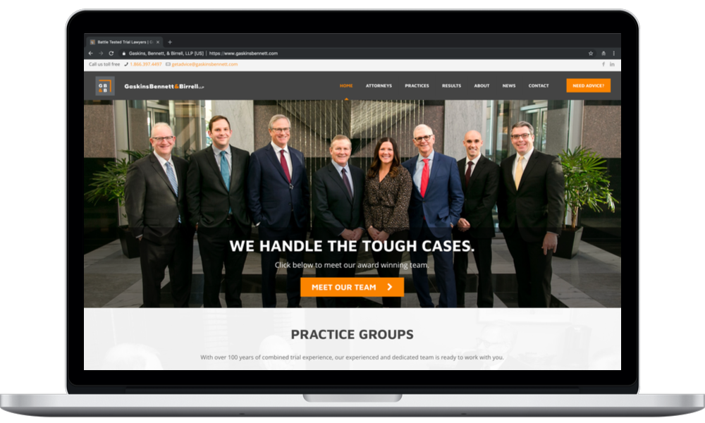 Gaskins Bennett Birrell LLP (laptop) - Minneapolis Web Design - Digital 1 (Laptop)