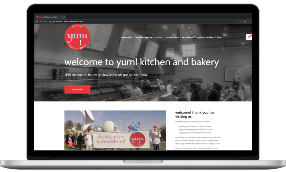 yum kitchen and bakery (laptop) - Minneapolis Web Design - Digital 1